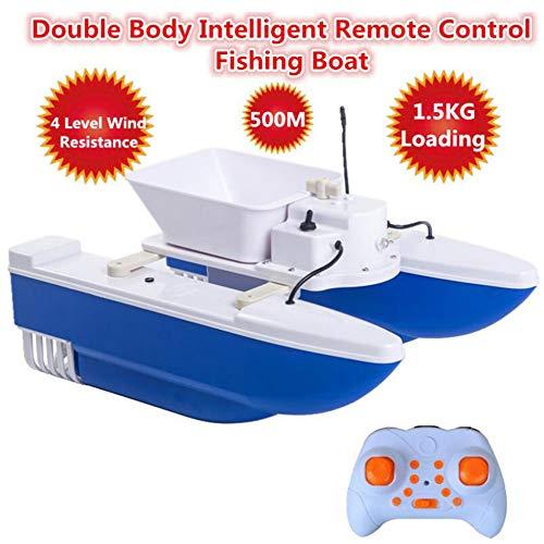 QTSR RC Ferngesteuertes Baitboat Boot Ausziehbarer Rumpf Doppelpropeller 500 m freie Kontrolle für Anfänger und Kinder