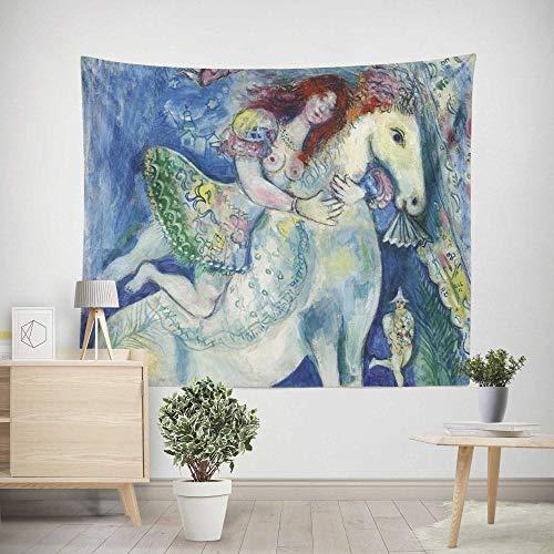 Tapiz Pared,Colcha de pícnic,Multiuso - Tapices Decoración,paño de Pared,tapicería Salón dormitorio - Pareo/Toalla de Playa - Cuadro famoso Chagall mujer a caballo 200×150cm