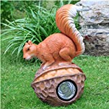 Simulated Animal Sculpture Outdoor Squirrel Solar Light Decoration Garden Grass Ornament FRP Material