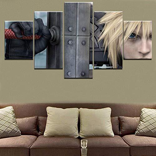 Cuadro modular con impresión de arte de pared, 5 piezas, Cloud Strife, Final Fantasy VII, espada, lienzo, pintura para sala de estar, 100x50cm Con marco