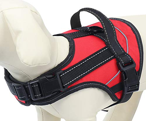 MissYou No Pull Dog Harness with Handle, Easy On and Off, Reflective Pet Vest Harness, Breathable & Adjustable Perfect on The Go for Small Medium Large Dogs (M, Red)