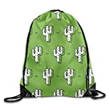 uykjuykj Bolsos De Gimnasio,Mochilas,Unisex Waterproof Drawstring Backpack For Gym School Travel Cactus Painting Green Pattern Lightweight Unique 17x14 IN