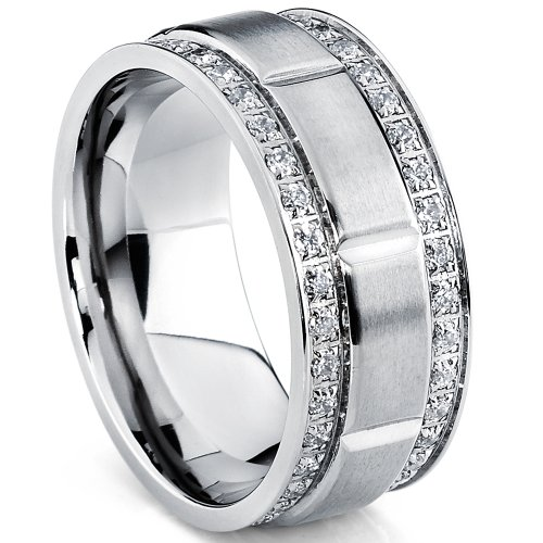Metal Masters Co. Men's Titanium Wedding Band Ring with Double Row Cubic Zirconia, Comfort Fit Sizes, 9MM Size 10