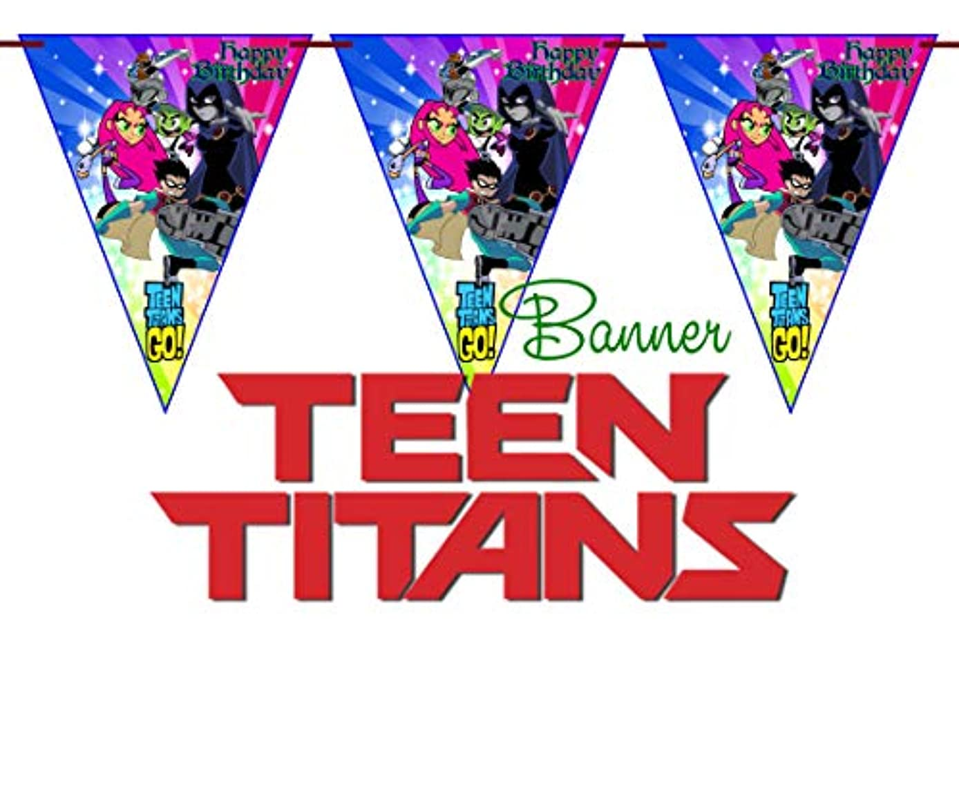 Crafting Mania LLC.. 10 TEEN TITANS Special Triangles For Birthday Banners