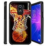 Untouchble  Case for Samsung Galaxy J3 2018, Express Prime 3, Amp Prime 3, J3 Orbit, J3 Achieve, J3 Star, Sol 3 Cover [Shock Bumper] Combat Shockproof Two Layer Cover - Basketball Fire