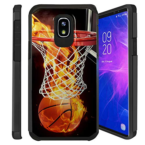 Untouchble| Case for Samsung Galaxy J3 2018, Express Prime 3, Amp Prime 3, J3 Orbit, J3 Achieve, J3 Star, Sol 3 Cover [Shock Bumper] Combat Shockproof Two Layer Cover - Basketball Fire