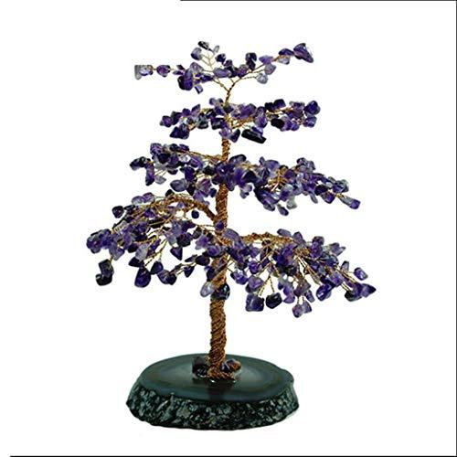 Árbol de Cristal Amatista Cristal árbol ágata Base Bonsai árbol del Dinero for la abundancia y la Suerte Árbol Bonsai Artificial