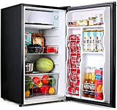 Compact refrigerator, TACKLIFE Mini Fridge with Freezer, 3.2 Cu.Ft, Silence, 1 Door, Black, Ideal Small Refrigerator for Bedroom, Office, Dorm, RV - MPBFR321