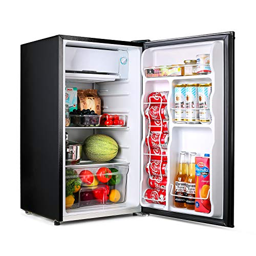 TACKLIFE Compact Refrigerator, 3.2 Cu Ft Mini Fridge with Freezer, Low noise, for Bedroom Office or Dorm with Adjustable Temperature, Removable Glass Shelves- MPBFR321