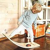 Wooden Balance Board with Felt Wobble Board for Kids, Natural Wood Rocker Curvy Board Toys