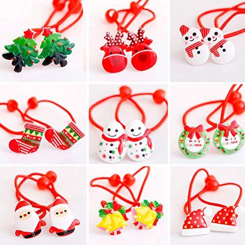 Frcolor Weihnachten Bogen Haargummis, elastische Pferdeschwanz Inhaber Geweih Baum Bell Handschuh Scrunchie für Kinder Mädchen, 20 Stück