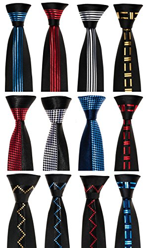 Schmale Krawatte von Mailando, mit Kästchen, schwarz - gold