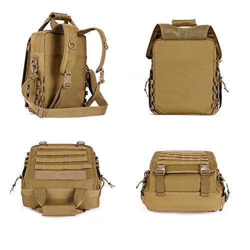 Camouflage imperméable à l'eau sac à dos de 14 pouces de randonnée en plein air Camping sac à main portable Messenger Bag Sacs multifonctionnels , KHAKI