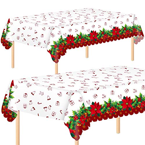 Aneco 2 Pack Christmas Plastic Party Tablecloth Table Cover Christmas Flower Disposable Tablecloth Table Cover 54 x 108 Inches for Christmas Party Decoration Supplies