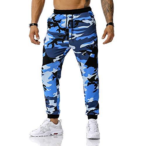 Mens Camo Cargo Pantaloni Correre Jogging Tuta Pantaloni Pantaloni della Tuta Outdoor Militare Tattico Combattimento Pantaloni Casual Lavoro Blu 02 L
