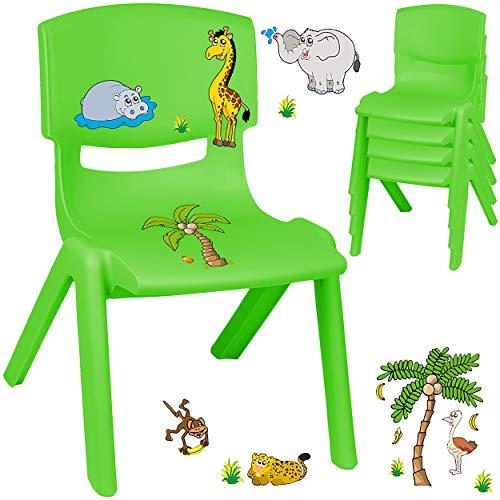 alles-meine.de GmbH Kinderstuhl / Stuhl - Motivwahl - grün + Sticker - Zootiere & Giraffe - inkl. Name - Plastik - bis 100 kg belastbar / kippsicher - für INNEN & AUßEN - 0 - 99 ..