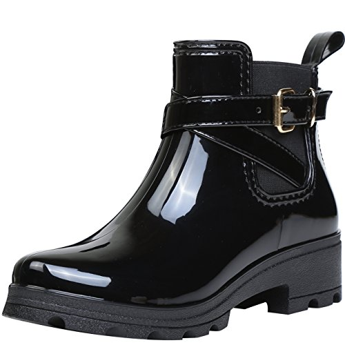 Botas de Agua Bota de Goma Mujer Impermeable lluvia Zapatos Tobillo Casual Calzado, Negro 36 (Ropa)