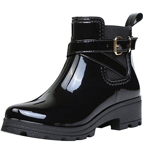 ukStore Damen Gummistiefel Regenstiefel Kurzschaft Stiefel Blockabsatz Chelsea Boots Rain Schuhe, Schwarz 37