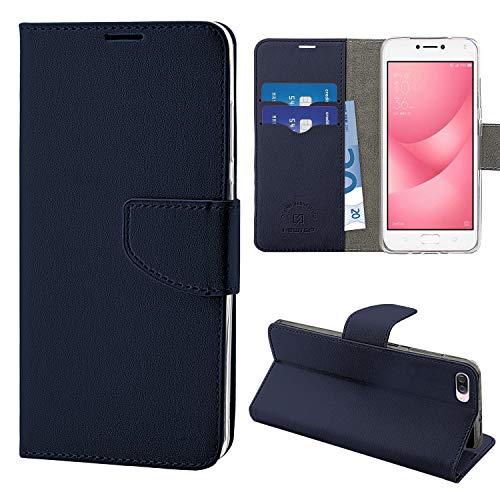 N NEWTOP Cover Compatibile per ASUS Zenfone Max 4 ZC554KL 5.5', HQ Lateral Custodia Libro Flip Chiusura Magnetica Portafoglio Simil Pelle Stand (Blu)