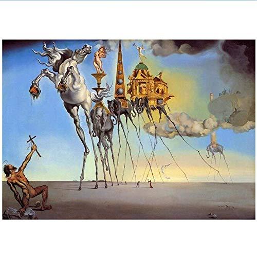 RuiChuangKeJi Cuadro Impresiones 60x85cm con Marco Salvador Dali Arte Famoso Pinturas en Lienzo Carteles La tentación de San Antonio Imagen clásica del Arte