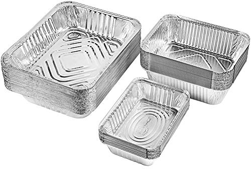 Netko Aluminum Foil Pans Set   Safe Party Food Storage Containers   Disposable & Reusable Deep Kitchen Containers for Baking, Buffets, Cooking, Catering & Roasting   3-Size Pack Pack of 55