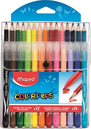 Maped M897412 - Kombipack Color Peps Jungle, 12 Filzstifte, 15 Buntstifte