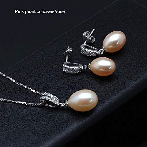 WTPUNGB Echte 925 Sterling Silber Perle Schmuck Sets Natürliche Süßwasser Perle Pandent Ohrringe Hochzeitsschmuck Für Frauen GeschenkRosa Schmuck Sets