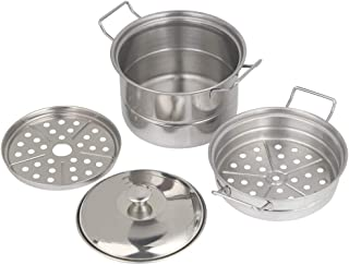 Josopa Mini olla de vapor, 3 niveles de acero inoxidable, cacerolas de acero inoxidable, olla de cocina con tapa, cocina para casa, cocina de cocina, 12,8 x 8,5 cm