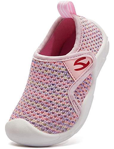 INMINPIN Zapatillas de Estar por Casa para Niños Zapatos de Interior de Punto Infantil Niña Niño Cómodos Suave Antideslizante Zapatos de Deporte,Rosado,24EU.