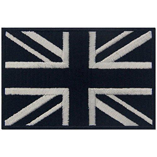 Táctico Bandera británica de Union Jack Reino Unido Emblema nacional Parche Bordado de Aplicación con Plancha, Blanco negro
