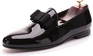Black Patent Leather Men Loafers with Black Bowtie Slip-on Round Toes Smoking Slipper