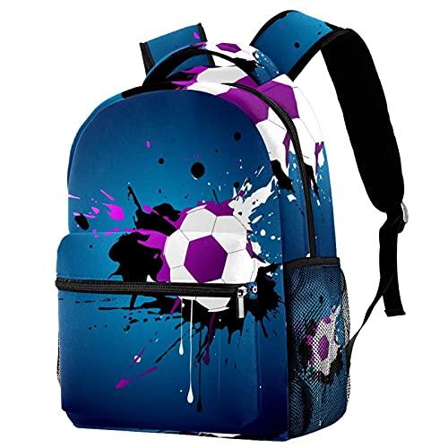 Backpack Pintura de fútbol Mochila niña Mochila de Viaje Mochila Escolar Gran Capacidad Mochila Casual Diaria para Mujeres 25.4x10x30 CM