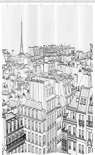 ABAKUHAUS Parijs Douchegordijn, Daken in Parijs en Eiffel, voor Douchecabine Stoffen Badkamer Decoratie Set met Ophangringen, 120 x 180 cm, Zwart en wit