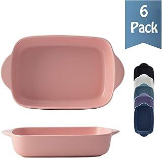 Porcelain Baking Dish Set of 6, Rectangular Bakeware Set Baking Pan Ceramic Non-Stick Cake Pan Lasagna Pans for Cooking Ki...