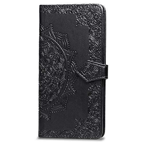 Fundas Xiaomi Mi A2 Lite Tapa de Falsa Piel Mandala Negro, Fundas Xiaomi Redmi 6 Pro Libro Iman con Tarjetero, Grabado Flores de Funda para Xiaomi Mi A2 Lite & Redmi 6 Pro Antigolpes Mujer