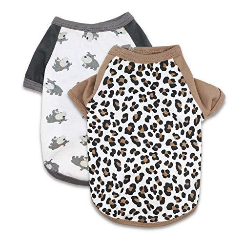 MeowWow Puppy Tee Shirt Kleine Hunde Kleidung Mädchen Hundeshirts für Kleine Hunde 2er Pack XS