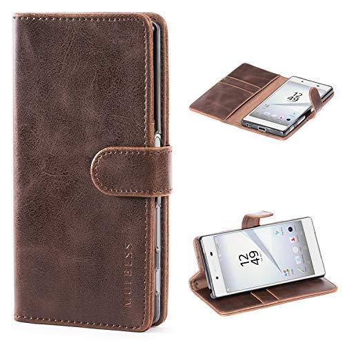 Mulbess Handyhülle für Sony Xperia Z5 Hülle Leder, Sony Xperia Z5 Handy Hüllen, Vintage Flip Handytasche Schutzhülle für Sony Xperia Z5 Hülle, Kaffee Braun