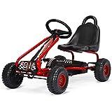 Costway Kart à Pédales Vélo et Véhicule pour Enfants Siège Réglable avec Frein à Main pour l'Extérieur, Garçons et Filles 3-6 Ans (Rouge)