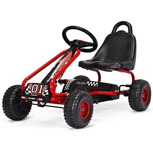 COSTWAY Go Kart Coche de Pedal Go Kart para Niños con Asiento Ajustable y Freno de Mano Infantil Juguete Carga hasta 30kg (Rojo)