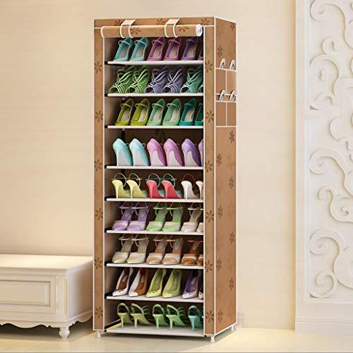 M-YN Zapatero 10 Nivel de Zapatos de gabinete en Rack, Zapato de Tela Ajustable Estante, Permanente del Organizador del almacenaje, de 27 Pares Zapatos con Prueba de Polvo Cubierta, Fácil Ensamble