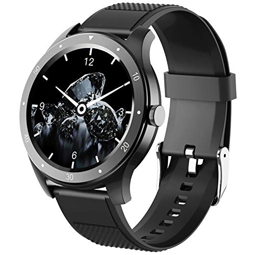 Smart Watch, Fitness Tracker Uhr IP67 Wasserdicht Activity Tracker Herzfrequenz Monitor/Sphygmomanometer Schrittzähler Damen Herren Schlafmonitor IOS/Android (schwarz)