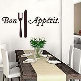 Wandtattoo / Wandaufkleber mit englischer Aufschrift 'Family Wall', Vinyl, Schriftzug 'Bon Appetit', 35.1x17.2 inch