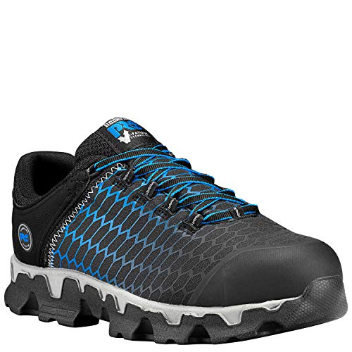 Timberland PRO Men's Powertrain Sport Alloy Toe EH Industrial & Construction Shoe, Black Ripstop Nylon with Blue, 11.5 W US