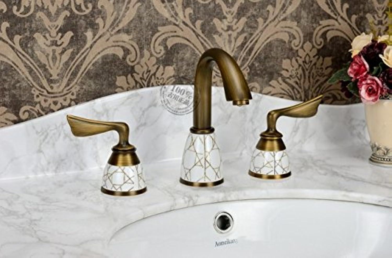 LHbox Continental Antike Bohrung Drei Waschbecken Wasserhahn Warmes und Kaltes Voll Kupfer Amerikanische Antike Kupfer-Farbigen Split Wasseranschlu