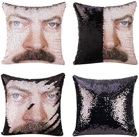 cygnus Parks and Recreaton Ron Swanson Mermaid Reversible Sequin Throw Pillow Cover Without product image