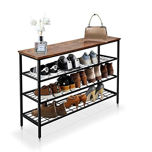Shoe Rack 4-Tier Shoe Shelf Industrial Shoe Storage Organizer with 3 Metal Mesh Shelves and Large Surface for Bags Ideal for Entryway Hallway Closet Bedroom Garage Easy Assembly Fits 12 Shoes