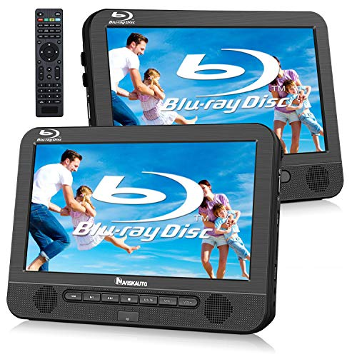 "NAVISKAUTO 10.1"" Blu Ray Dual Car DVD Players with Rechargeable Battery Support 1080P Video, HDMI Out, Sync Screen, Dolby Audio, AV in & Out, USB SD (Host DVD Player+ Slave Monitor)"