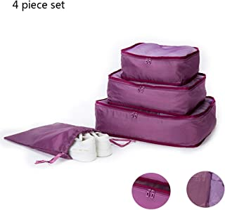 4 Piece Travel Storage Bag, Waterproof Portable Folding Set Multi-Function Wash Bag Clothing Sorting Bag Shoe Bag Storage,Purple