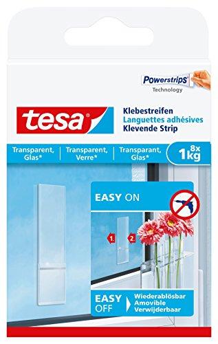 tesa Klebestreifen zum Befestigen auf transparentem Untergrund z.B. Glas, 1 kg Halteleistung