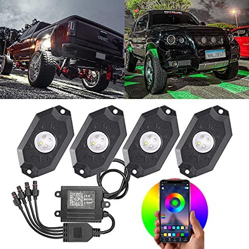 LED RGBW ROCK LIGHTS 4개의 포드 언더글로우 LED RGB ROCK LIGHTS 블루투스 APP 제어 플래싱 음악 모드 방수 다색 네온 록 라이트 키트 오프 로드 SUV ATV UTV 자동차 보트용